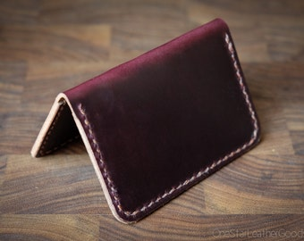 Two Pocket Card Wallet - hand stitched Horween Chromexcel leather - burgundy #8