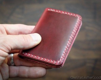 Two Pocket Card Wallet - hand stitched Horween Chromexcel leather - red