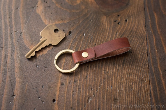 Key fob & keyring, keychain, Horween leather - redbrown/brass