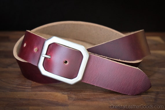 "Custom sized belt - 1.25"" width - Horween Chromexcel leather - center bar buckle - burgundy #8"