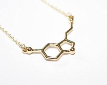 Serotonin Necklace Serotonin Molecule Necklace Charm Necklace Serotonin Charm  Chemistry Necklace Molecular Structure Necklace