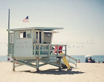 California Beach Photography, Santa Monica Photograph, Lifeguard Wall Art, Pastel Home Decor, Boho Style print, Los Angeles photography