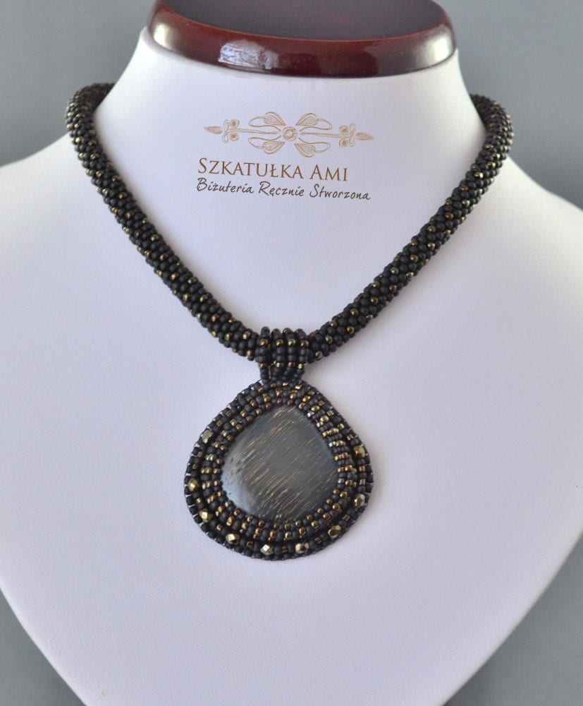 black stone necklace seed beads necklace black by szkatulkaami. Black Bedroom Furniture Sets. Home Design Ideas