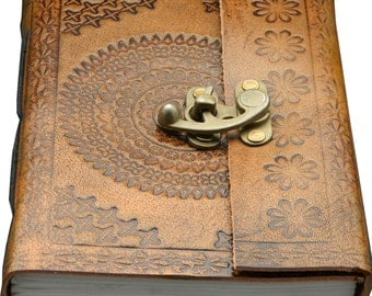 Antique Tanned Color Leather Journal Embossed with Mandala Design, Metal Lock for Enclosure