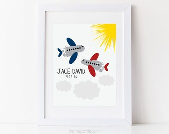 Airplane Nursery Wall Art, Transportation, Travel  Print, Baby Footprints, Personalized Boys Decor, Your Child's Foot Prints, 8x10 or 11x14