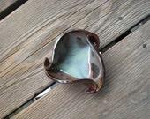 Black and Turquoise Ring Dish - Small Ceramic Dish - Tapas - Ceramics and Pottery - Surrealist Decor - Smoke Art - Triangle Decor