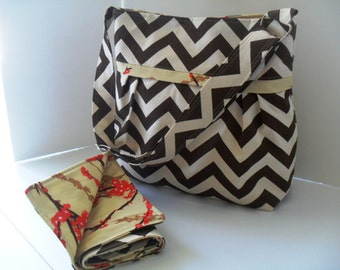 Chevron Diaper Bag with Changing Pad