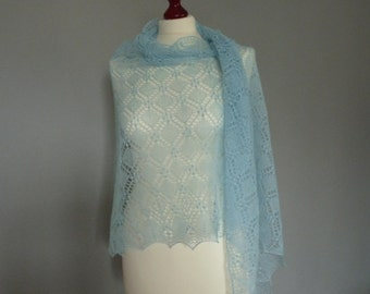 Hand knitted lace shawl, Light blue merino wool lace shawl, Estonian lace pattern