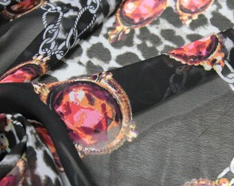 Black Chain and Jewel Printed Pattern Chiffon Fabric Tops, Dresses , Decorations, DIY Projects Fabric by the Yard- 8058
