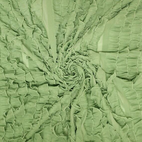 Sage Green Ruffle Knit Stretch Fabric By The Yard 1 Yard