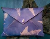 Boho Envelope Wallet Leather Mini Clutch Bohemian Sun Print - Maple Skeleton Leaf