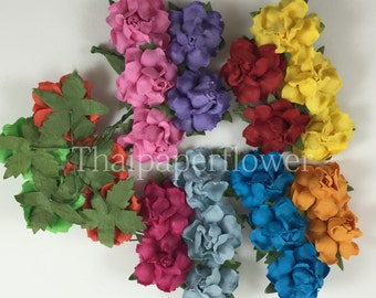 25 Rainbow Small Mulberry Paper flower roses DIY scrapbook card making home decor craft supply 19/427