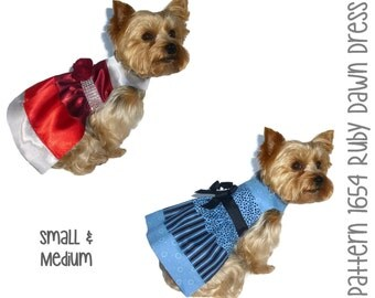 Ruby Dawn Dog Dress Pattern 1654 * Small & Medium * Dog Clothes Sewing Pattern * Dog Harness Dress * Designer Dog Clothes * Dog Apparel