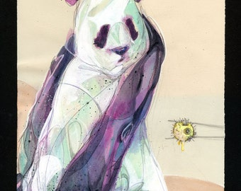 "Panda Art - Panda and Blowfish Watercolor Art Print - ""Backwards Juju"" by Black Ink Art"