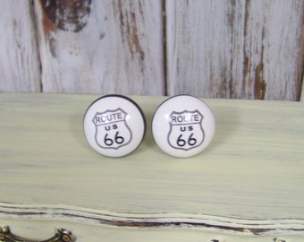 1 Ceramic Route 66 Dresser Knob-Distresssed Shabby Chic Drawer Pull