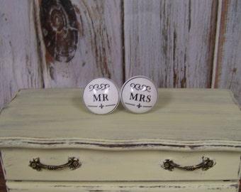 Mr and Mrs Knobs Set-Set of 2-Wedding-Bride-Groom-White knobs-Ceramic Front-Shabby Chic Dresser Drawer Pull