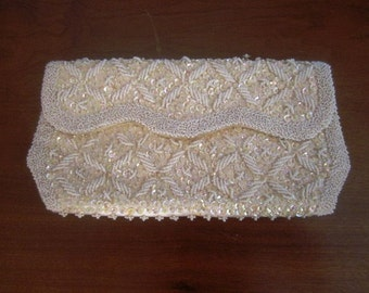 Vintage Ivory Satin Evening Clutch Purse Encrusted with White Beads and Iridesscent Sequins, Bon Soir, ca 1960s