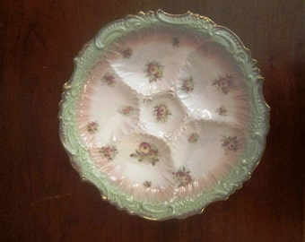 Antique Set of 10 Exquisite Oyster Plates, France, ca Late 1800s, Early 1900s