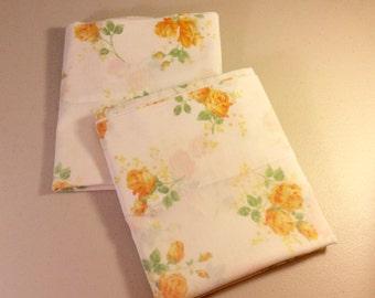 Vintage  Pillowcases Yellow Flowered