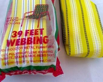 Retro Lawn Chair Webbing 50 Feet in Yellow with Black Stripe, Lawn Furniture Webbing