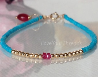 Sleeping Beauty Turquoise With 14 Karat Gold, Sapphire And Ruby Bracelet