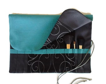 Makeup Brush Roll Black & Teal Cosmetic Bag Roll up