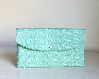 Mother's Day,Mint bridesmaid clutch/bridesmaid gift/mother of bride/floral clutch/bridesmaid floral clutch