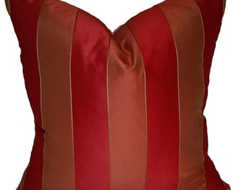Red Stripe Throw Pillow Cover, Red & Coral Silk Stripe Throw Pillow Cover, Lumbar Pillow, Accent Pillow,  Bright Red Pillow