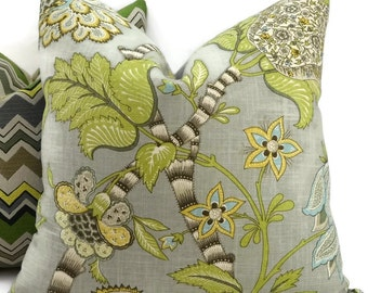 Gray, Green, Brown, Taupe, Gold & Off White Jacobean Floral Pillow Cover, Throw Pillow, One of a Kind, Toss Pillow,  20x20, Lumbar Pillow