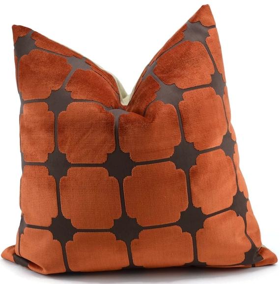 Burnt Orange Amp Brown Geometric Cut Velvet Pillow By