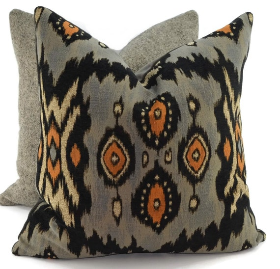 throw pillow cover gray taupe tan orange black ikat. Black Bedroom Furniture Sets. Home Design Ideas