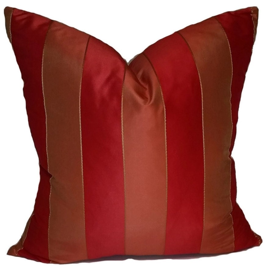 Throw Pillows With Red Coral : Red Stripe Throw Pillow Cover Red & Coral Silk Stripe Throw