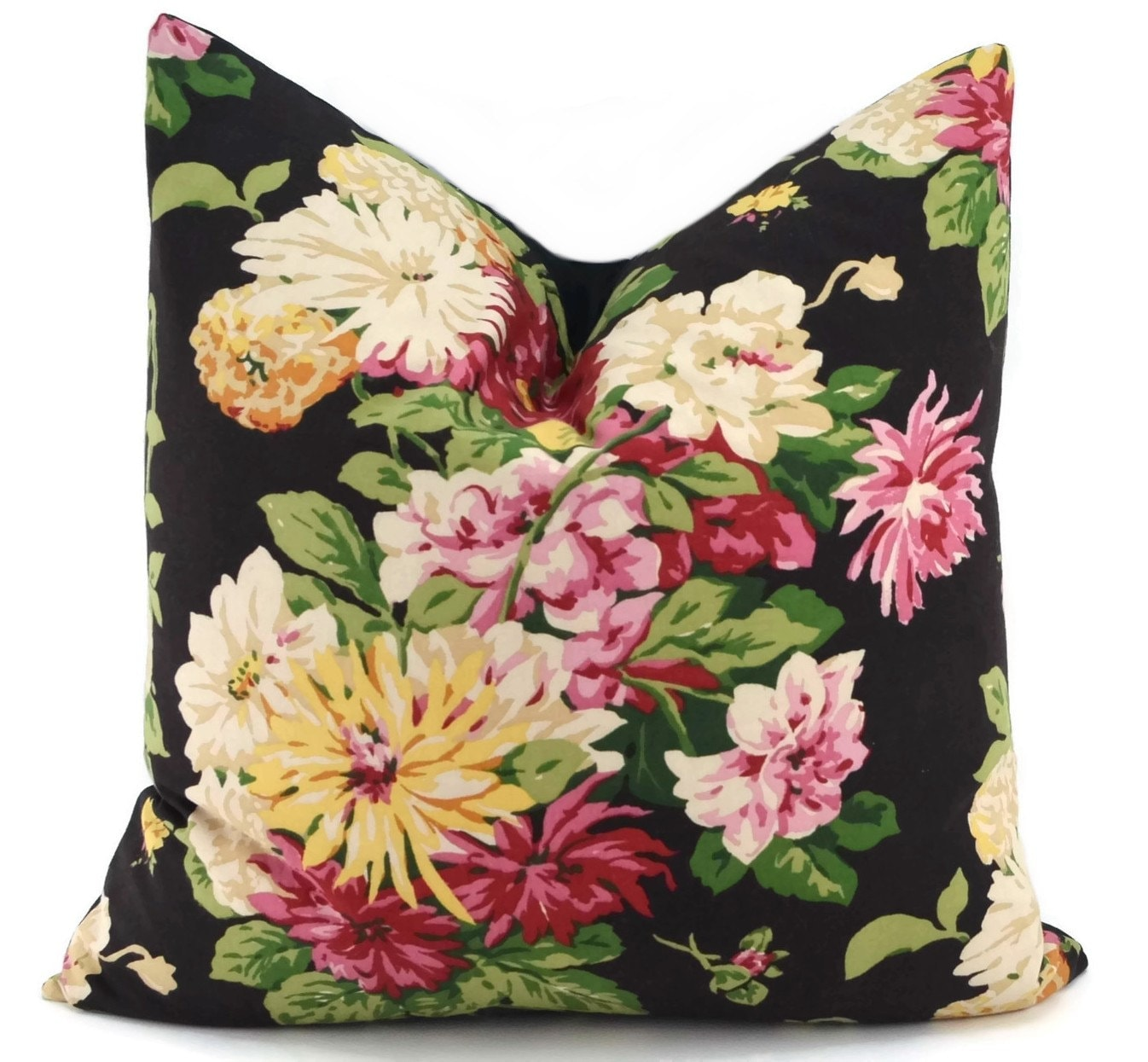 Black Flower Throw Pillow : SALE Black Floral Throw Pillow Cover Peony Flower PIllow