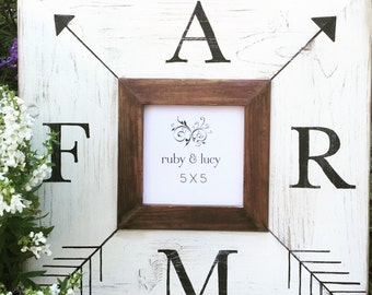 FARM 5x5 distressed frame | farmhouse style | hand painted frame | gallery wall | home decor gift | picture frame | gift for her |wall decor