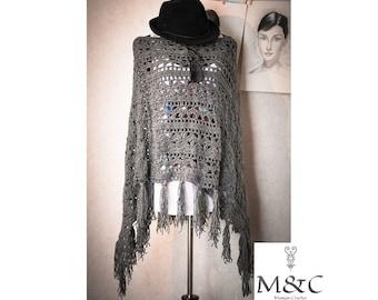 Crochet gray poncho/shawl/wrap.