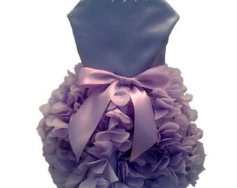 Dog Dress, Dog Clothing, Dog Wedding Dress, Pet Clothing, Dog Attire, Pet Dress - Lilac Satin with Ruffled Skirt