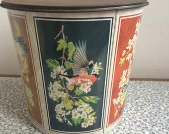 1960's biscuit barrel with bird and flower design