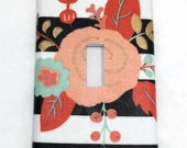 Stripes and Flowers Light Switch Plate Cover / Outlet Cover / Home Decor / Baby Shower Gift / Nursery Decor / Kid's Room / Black and White