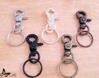 5 Key Chains Heavy Duty Steel with Lobster Claw Hooks and Matching Key Chain Rings - 5 Colors - Key chain Fobs