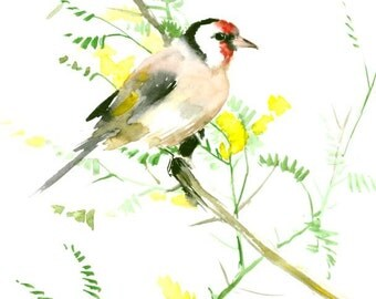 European Goldfinch olive green brown bird art goldfinch art finch lover painting 12 x 9 in yellow green nirsery children wall art
