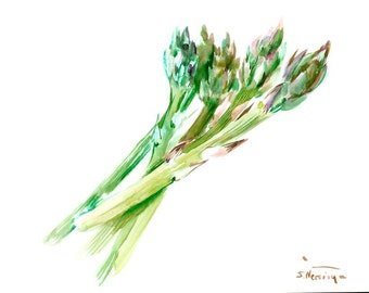 Asparagus 12 x 9 in original watercolor painting kitchen wall art asparagus art