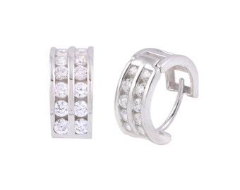 Huggie Hoop Earrings Sterling Silver 2 Row Cubic Zirconia 13mm x 6mm