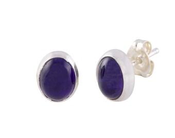 Purple Amethyst Stud Earrings Sterling Silver Gemstone 7mm x 9mm Oval