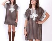70's Ethnic Embroidered Striped Woven Hippie Boho Tent Vintage Mini Dress Caftan Kaftan Oversized
