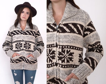 70's Cowichan Snowflake Wool Oversized Knit Boyfriend Shawl Collar Ethnic Zip Up Hippie Cardigan Chunky Vintage Sweater M