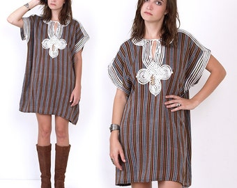 70's Ethnic Embroidered Striped Woven Hippie Boho Tent Vintage Mini Dress Caftan Kaftan Oversized