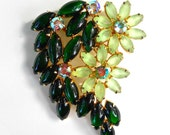 Green Cabochon Floral Brooch, Emerald and Frosted Stones, Vintage 3""
