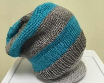 Bright Blue and Silver Gray Slouchy Striped Hat