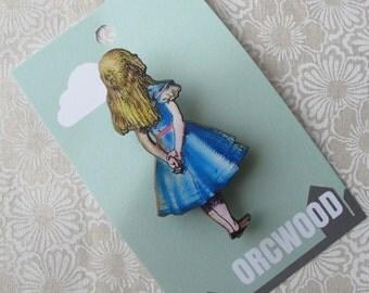 Wood Brooch - Alice Pondering, Alice in Wonderland