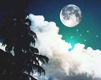 "Night Photography, Moon Art, Dreamy Art, Sky Photography, Surreal Photography, Fine Art Photography, Nursery Decor, ""Magic Night"""